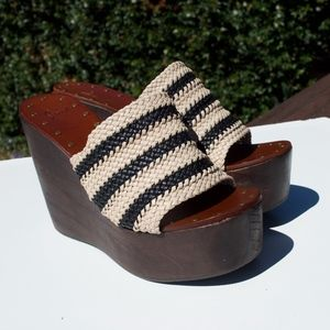Joie Striped Wood Wedges